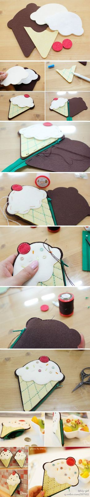 """Felt ice cream purse .. """"think about your little lovely in the summer with you this lovely purse sewn for them personally, their partners or classmates is not particularly a fan. Now we are together hands to do this super kawaii purse."""""""