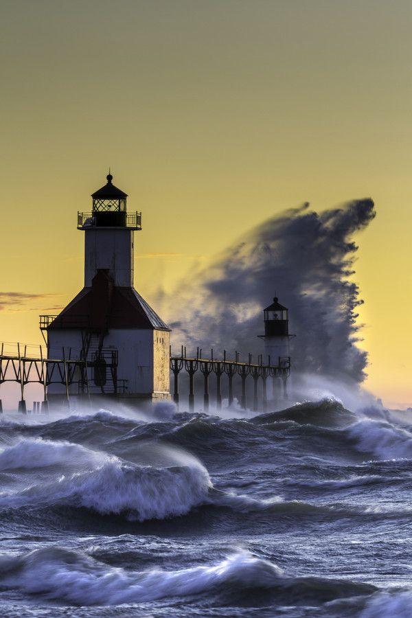 U.S. Turmoil on Lake Michigan, lighthouse, St. Joseph, Michigan // Anthony Pietrzykowsk on 500px