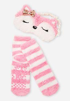 2 Piece Fox Eye Mask and Slipper Socks Set
