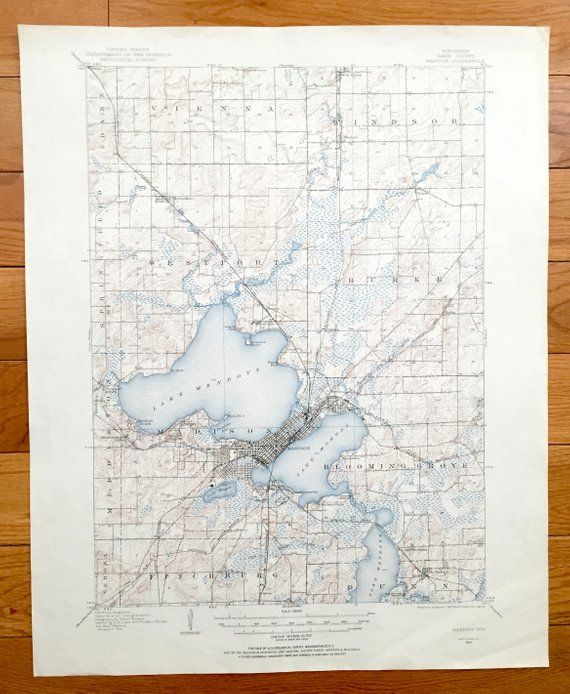 Antique Madison Wisconsin 1904 US Geological Survey Topographic Map