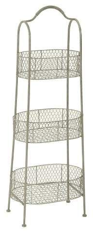 """Olivia & May Farmhouse Rustic Iron 3-Tiered Basket Stand (41"""") #Affiliate"""
