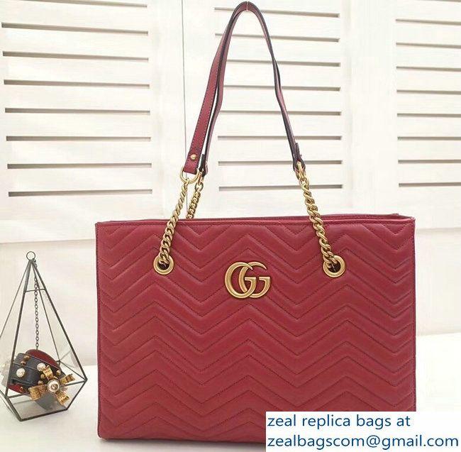 8a8459796d1 Gucci GG Marmont Matelasse Medium Tote Bag 524578 Red 2018