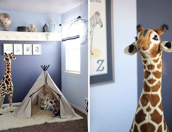 kids teepee and stuffed animals for safari inspired room