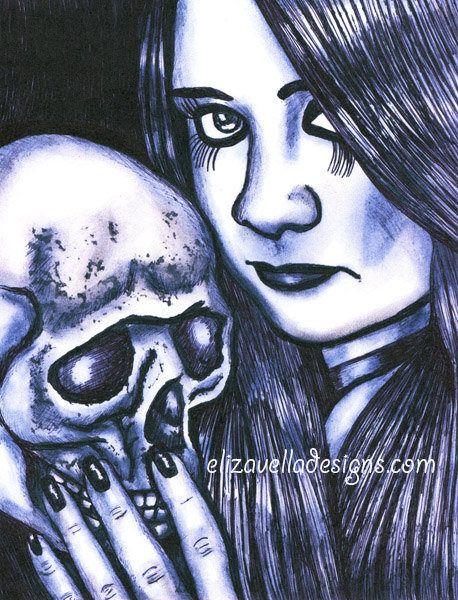 goth girl skull original dark art print love death obsessed drawing black white ink drawings Elizavella bowers