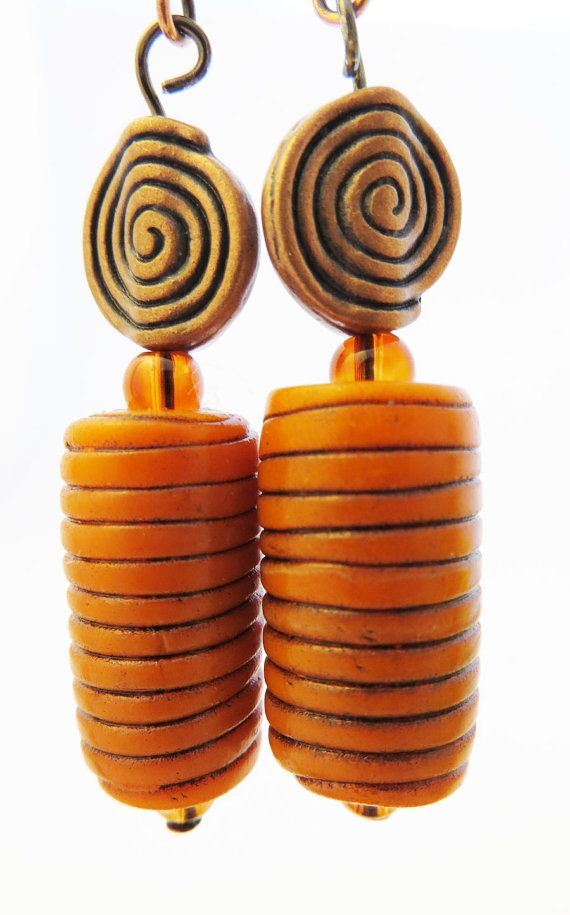 Orange and Copper Polymer Clay Earrings by OrbObsession on Etsy