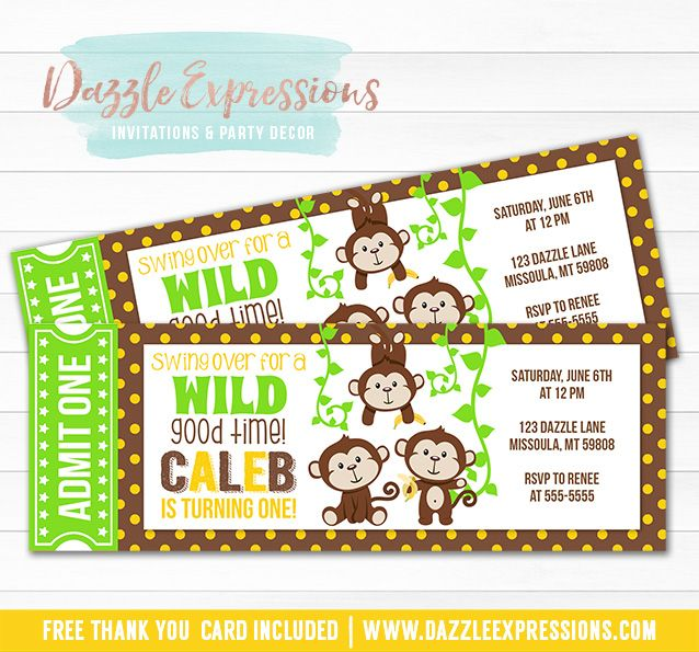 Printable Jungle Monkey Ticket Birthday Invitation