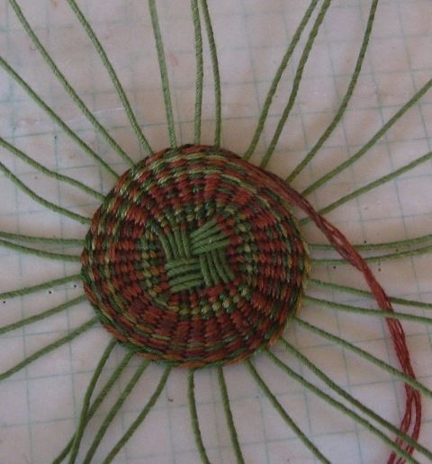 Weaving in the round using floral wire and embroidery floss