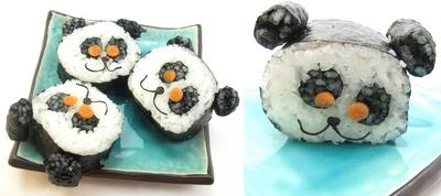 How cute!  Panda sushi.