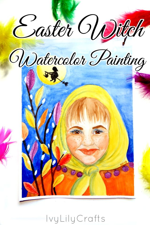 Ivy Lily Crafts and Art: Easter Witch Watercolor Painting.
