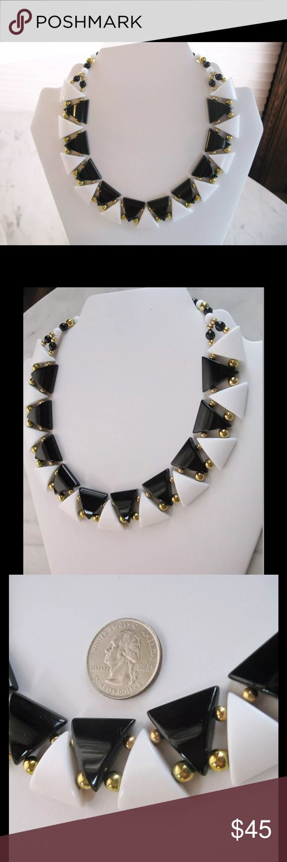 Vintage Retro Napier Necklace Modern Design This listing is for a vintage 1980's  Napier choker necklace. This necklace is from 1980's. The design of this choker is very cool.  It has a very MODERN look with the classic Black, White & gold color combination. This necklace measures approximately 16 inches long, 1 inch wide.  It has FOLD OVER CLASP signed NAPIER. It's Lucite & Lightweight.  Necklace is featured on page 598 of Melinda Laird Lewis' book THE NAPIER CO. Defining20th Century…