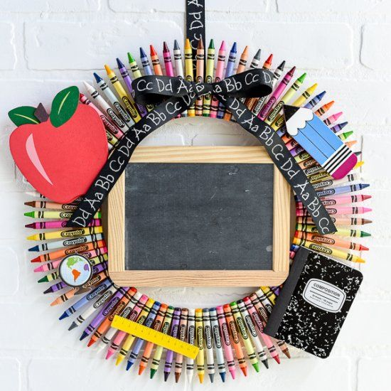 Create a personalized chalkboard crayon wreath for your child's teacher this…