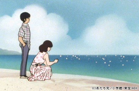 """Mitsuru Adachi - Manga/anime style from a popular series """"Touch"""". Looks like pen lines and detail for the figures with painted background (watercolour?). I like the contrast of the softness and spaciousness of the painted beach scene, with the line detail of the figures, including the pattern on the clothes. The simplicity of this appeals to me and the lack of detail draws you in - what is happening with these two figures? They are looking beyond the scene to something unknown"""
