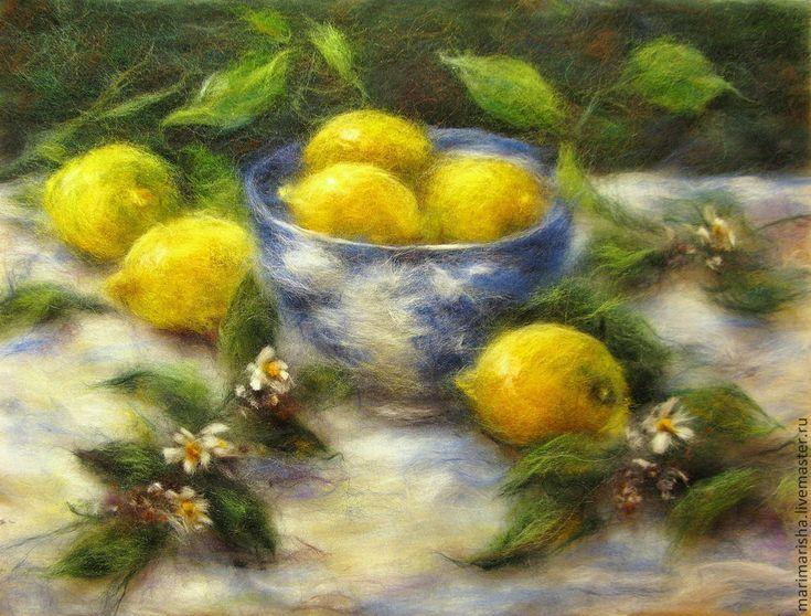 Купить Картина из шерсти. Lemon Time. Натюрморт с лимонами. - лимонный, живопись шерстью, картины из шерсти