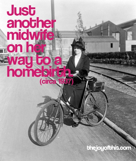 Midwife transporting analgesic gas-air machine by bicycle. #midwifery