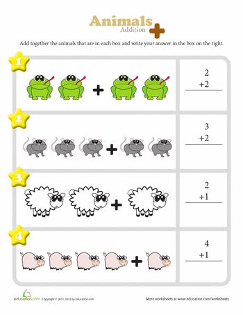 These colorful worksheets are a great way for kindergarteners to visualize addition. They get to see illustrations of some of their favorite animals, food, and other items added together so that they can better understand how solving the problem using numbers actually works!