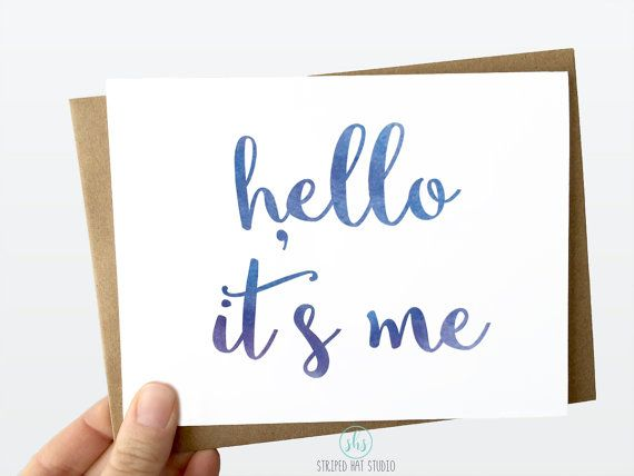 Funny Hello Adele Card. Funny Greeting Card. Hello it's me Card. Thank You Card. Any Occasion. Birthday Card.