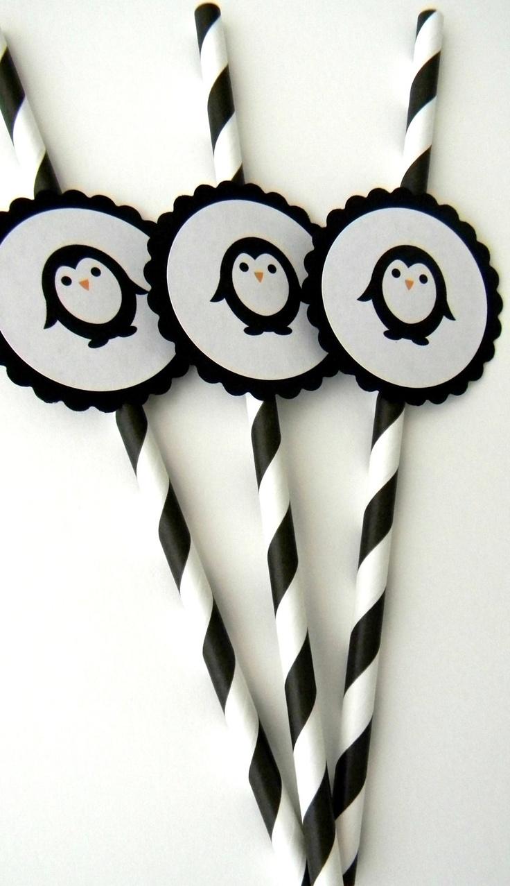 Penguin Party Straws. Via etsy