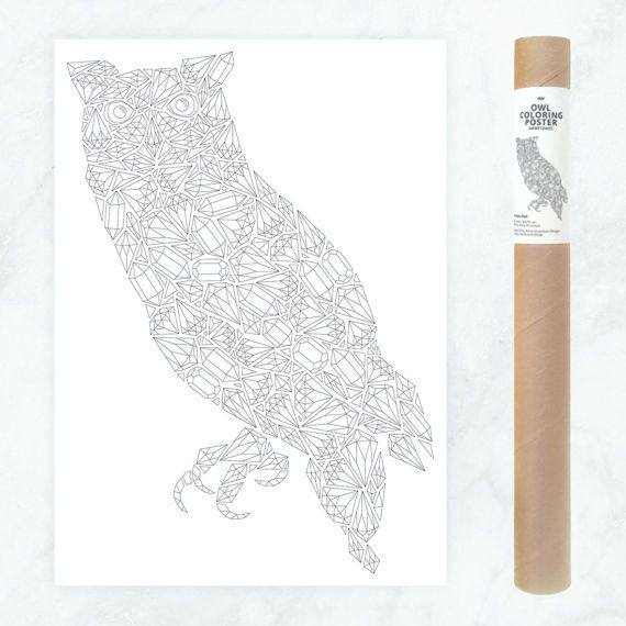 owl coloring poster diamonds large coloring page diamonds owl coloring page gemstones coloring page gemstones pattern owl illustration by AnnaGrundulsDesign
