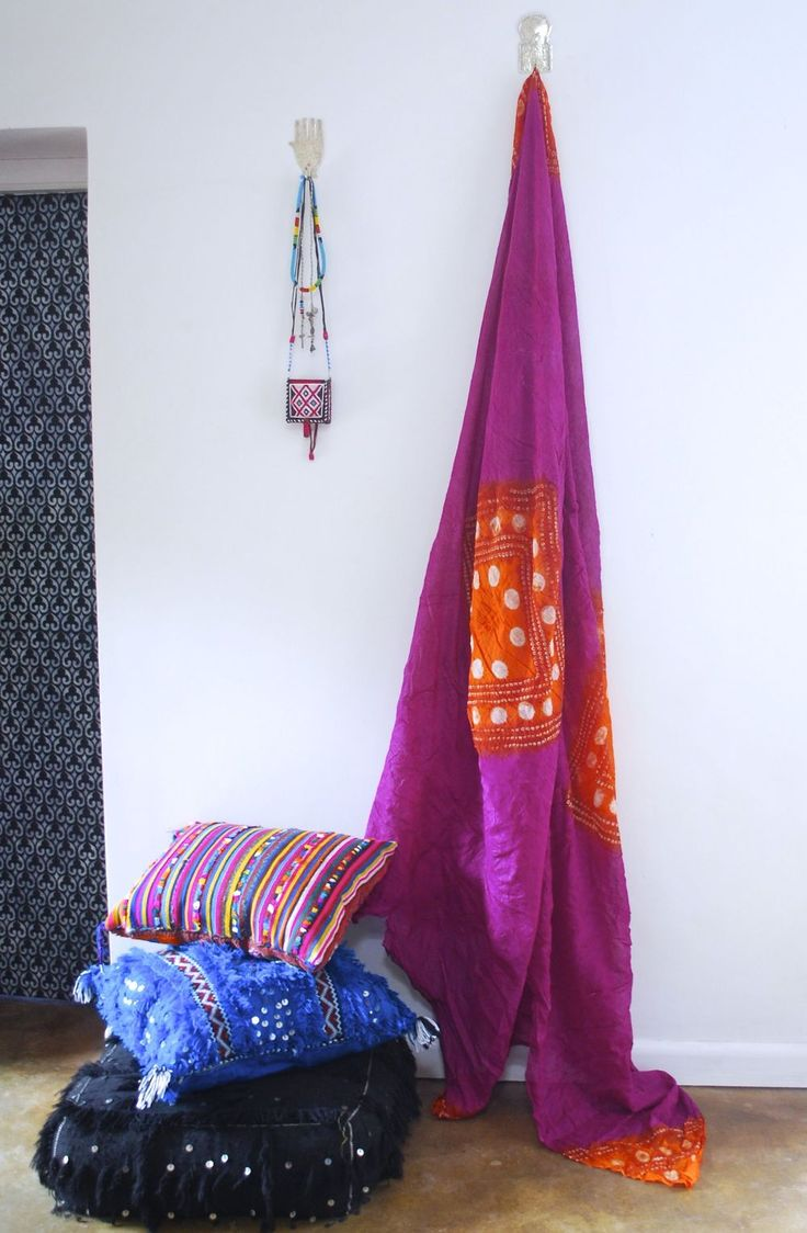 Hand dyed tribal fabric from M.Montague Souk.  Such bohemian chic!