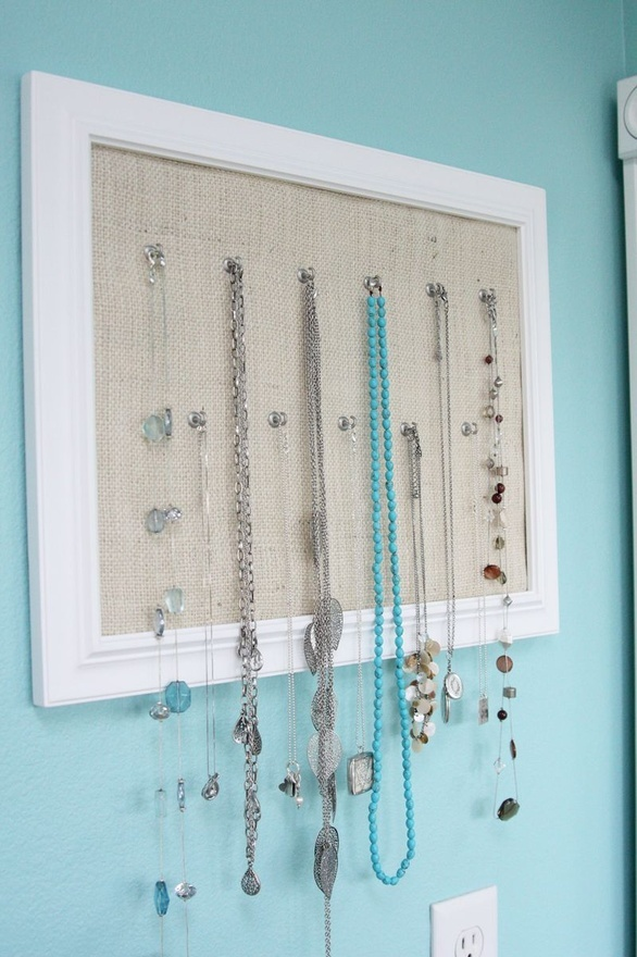 Attractive solution to store, sort and display necklaces. home-decor-and-organization-ideas