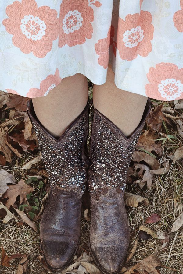 Modern Roses fabric by Stephanie Ryan paired with cowboy boots