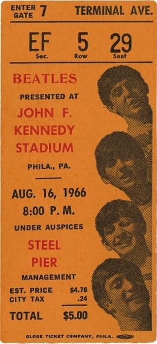 The Beatles concert ticket at John F. Kennedy Stadium, August 1966.