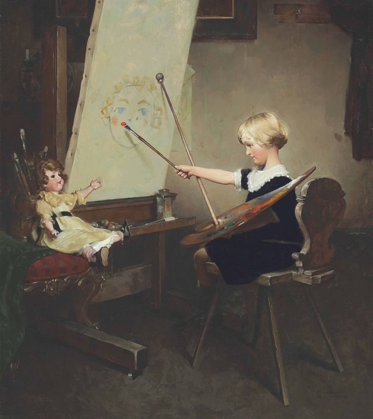 The Artist's Daughter (Little Girl with Palette at Easel), 1919. Norman Rockwell (American, 1894-1978). Oil on canvas. Produced for the cover of the September 23, 1922, issue of The Literary Digest....