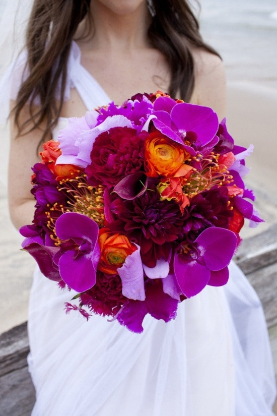purple and orange; so perfect for a fall wedding