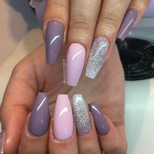 """Blueberry Milk"", ""Pastel Pink"" glitterombre lilac  and silver #lillynails"