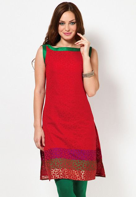 Sleeve Less Self Pattern Red Kurti