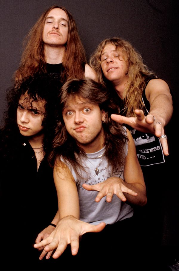 Metallica Cliff Burton, James Hetfield, bottom Kirk Hammett, Lars Ulrich