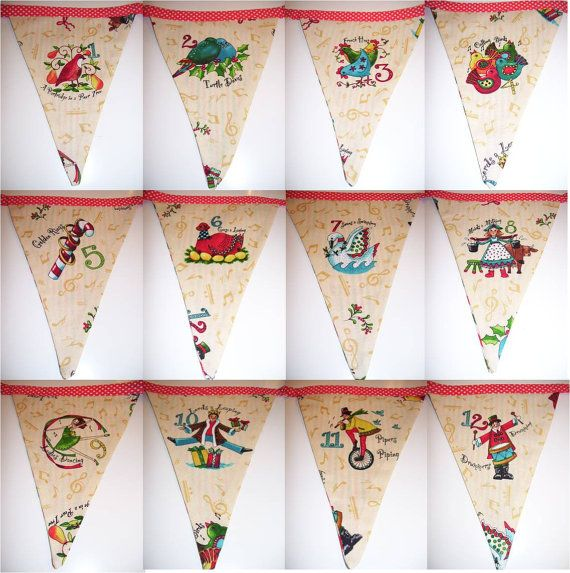 SOLD OUT! 12 Days of Christmas festive Bunting handmade in by Aphrodainty, £16.80
