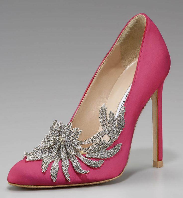 Manolo Blahnik Swan Shoe in Cranberry