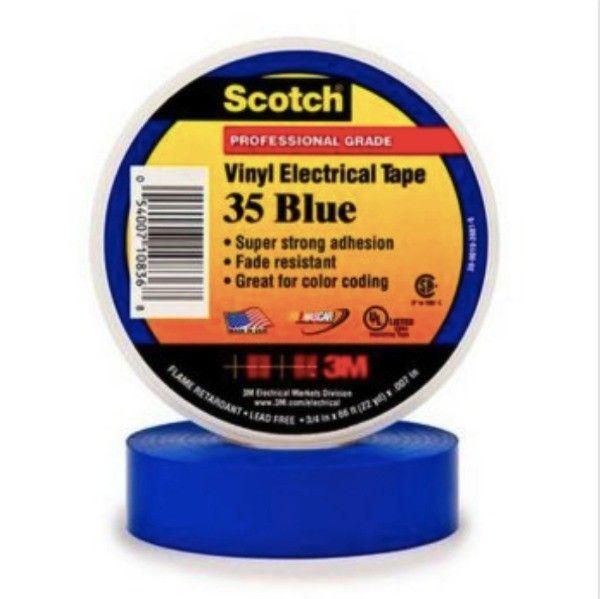 Scotch 35 Vinyl Electrical Color Coding Tape - Blue - 3/4 in x 66 ft.   - Harga per roll  http://tigaem.com/isolasi-electrical-tape/160-scotch-vinyl-electrical-color-coding-tape-35-blue-3-4-in-x-66-ft.html  #scotch #electricaltape #isolasi #3M