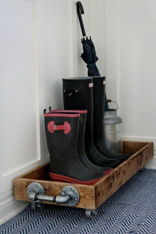 DIY boot tray, only I would make it to fit a cookie sheet so you could lift it out and dump the mud