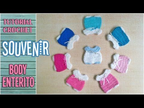 Souvenir a crochet para baby shower enterito, body bebé, paso a paso - YouTube