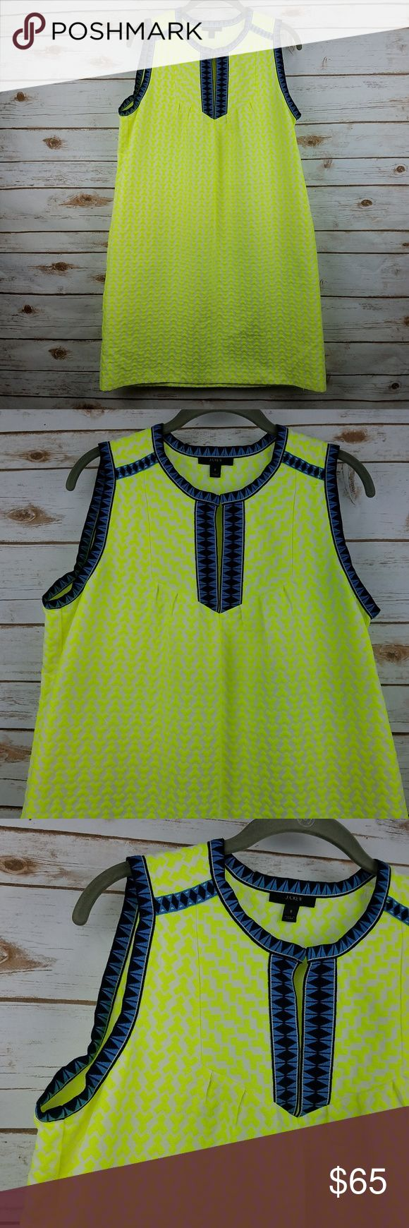 "J. Crew Arrow-Print Shift Dress Women's J Crew Arrow-Print Shift Dress Gorgeous neon yellow with embroidery around trim Style #A5361 Pre-owned in good condition. No stains, rips or holes.   Tag Size: 8 pit to pit: 20"" overall length: 36"" *all measurements are approximate and taken with the item laying flat. J. Crew Dresses"
