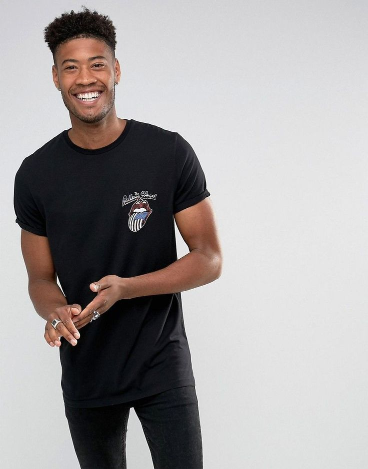 ASOS TALL Rolling Stones Longline Band T-Shirt With Roll Sleeves - Bla