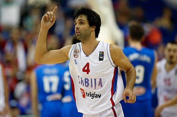 Pietro Aradori of Italy celebrates during the FIBA EuroBasket 2015 Group B basketball match between Serbia and Italy at Arena of EuroBasket 2015 on...