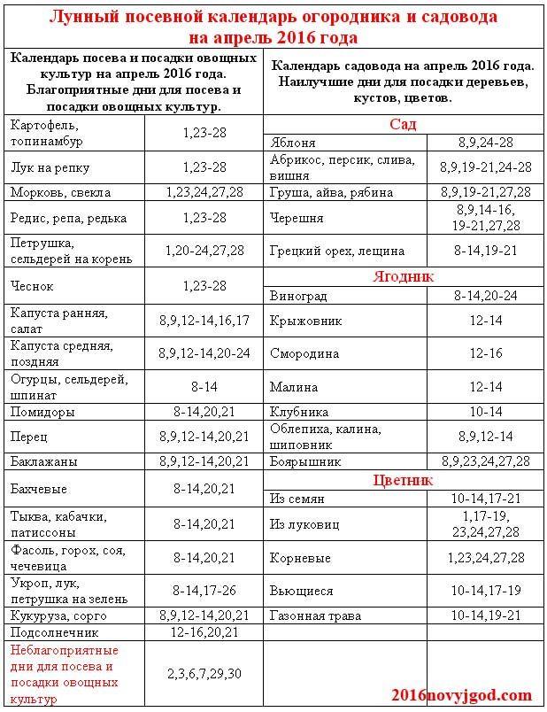 Для садовода и огородника, лунный посевной календарь на апрель 2016 - http://2016novyjgod.com/2016/02/lunnyj-posevnoj-kalendar-na-aprel-2016-goda-tablica/