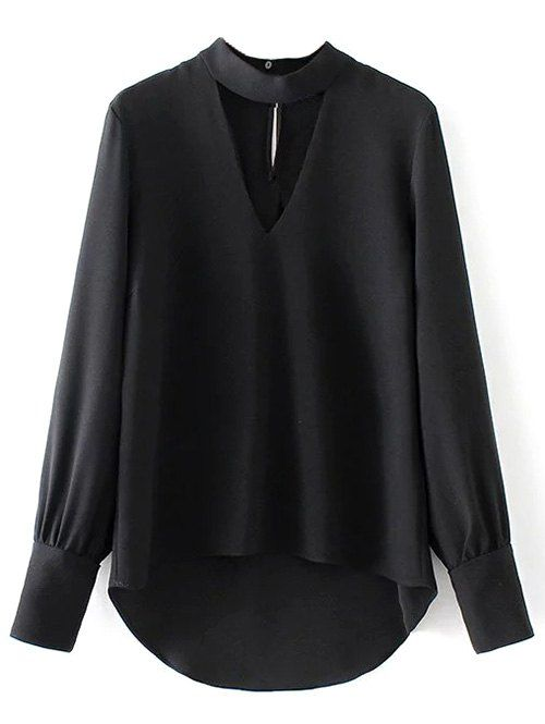 High Low Choker Blouse - BLACK S AU$27.96