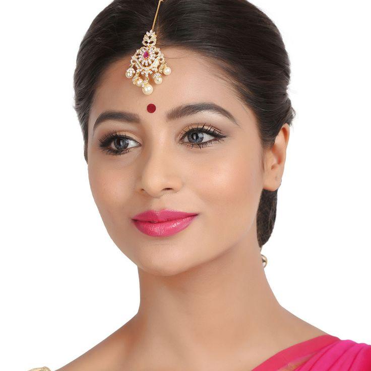 Zircon Tikka 55952R #Kushals #Jewellery #FashionJewellery #IndianJewellery  #WeddingAccessories #Maang Tikka #Zircon