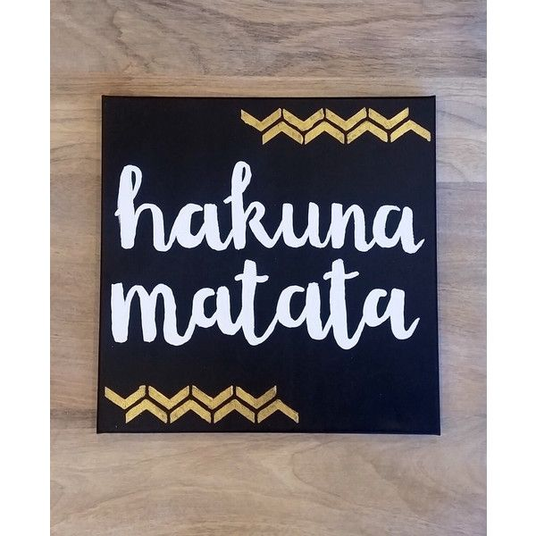 Hakuna Matata Disney Canvas Quote Wall Art Home Decor Custom Sign... ($20) ❤ liked on Polyvore featuring home, home decor, wall art, dorm decor, personalized wall art, text signs, white wall art and word canvas wall art
