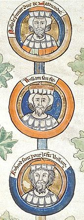 Norman conquest of England. 13th-century depiction of Rollo and his descendants William I Longsword and Richard I of Normandy