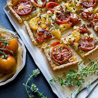 Tomato Tart Recipe with Feta Cheese and Pesto