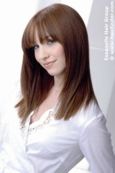 straight one length hairstyle with long bangs. Smooth brown hair. http://www.hairfinder.com/haircollections2/essanelle8.htm