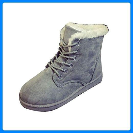 Frauen Stiefel,Amlaiworld Frauen Haus Schnee Bootvinculum weiblich warme Schuhe Knöchel Schnürschuh Pelz gefüttert Warm Winter Schneeschuhe (37, Grau) - Hausschuhe für frauen (*Partner-Link)