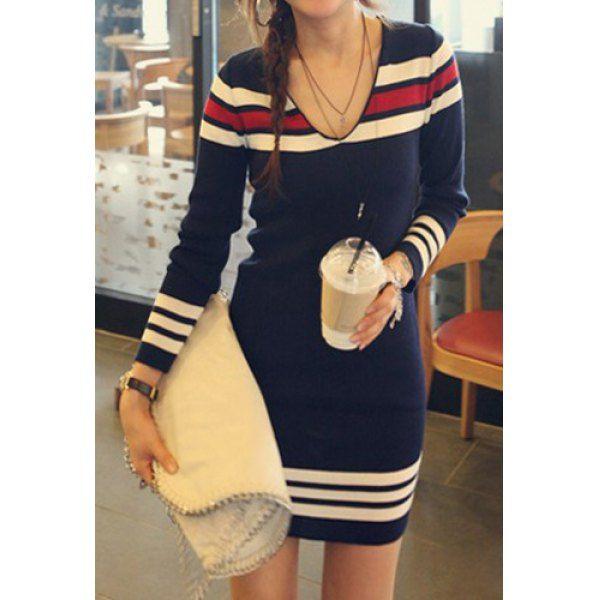 $10.80 Casual Style V-Neck Long Sleeve Striped Splicing Women's Sweater Dress - Deep Blue