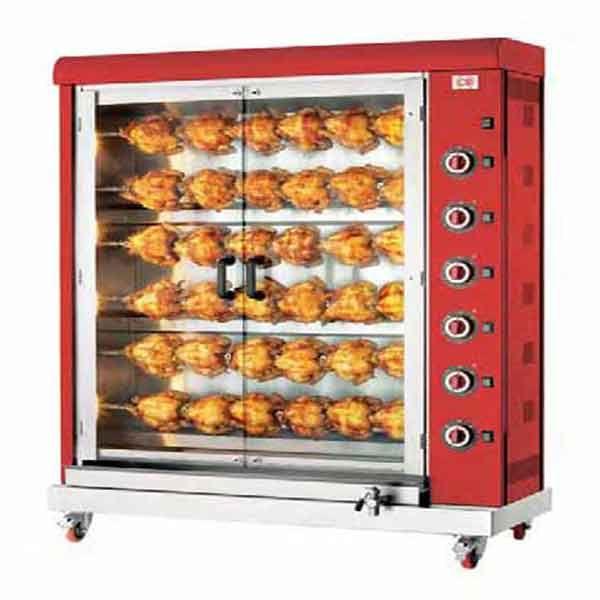 Ηλεκτρική κοτοπουλιέρα ανοξείδωτης κατασκευής για 36 κοτόπουλα. Η κοτοπουλιέρα είναι ιδανική για ψητοπωλεία και εστιατόρια και ξενοδοχεία.