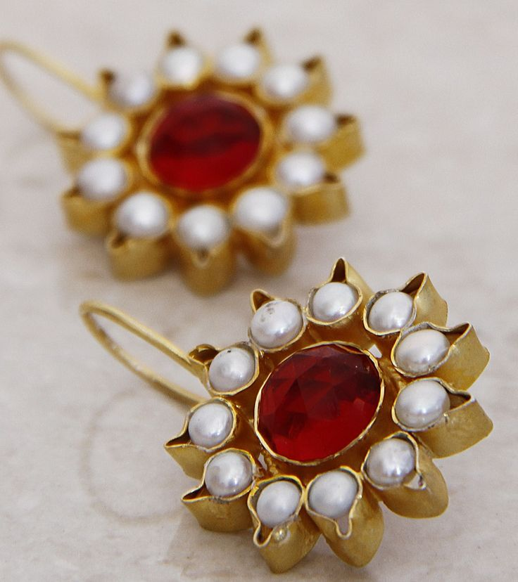 Red Stone Embellished Silver Earrings-Rich look love it